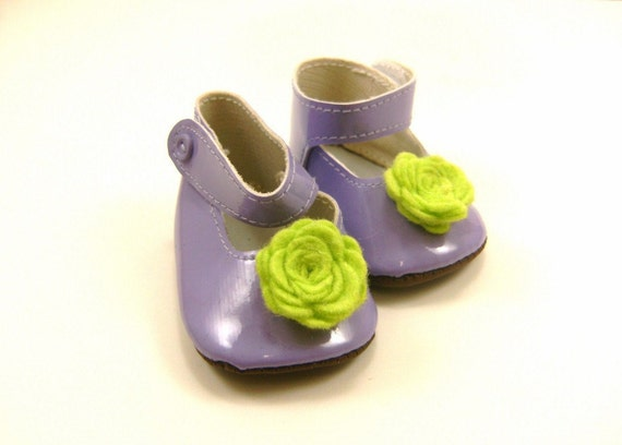 "Fits American Girl Doll Other 18"" Dolls Shoes Embellished Mary Jane Shoes Lavender with Bright Green Wool Felt Flowers"