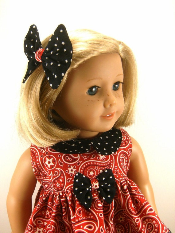 Made For American Girl Doll - Other 18 Inch Dolls - Pants, Paisley Print Top, Hair Bow