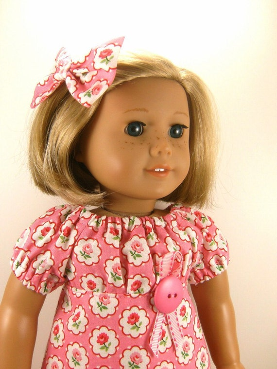American Girl Doll Clothes,  Retro Style Peasant Dress Matching Hair Bow Fits 18 Inch Dolls Girls Toys Retro OOAK