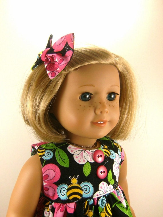 Made For American Girl Doll - Other 18 Inch Dolls - Pants Top Matching Hair Bow One Of A Kind
