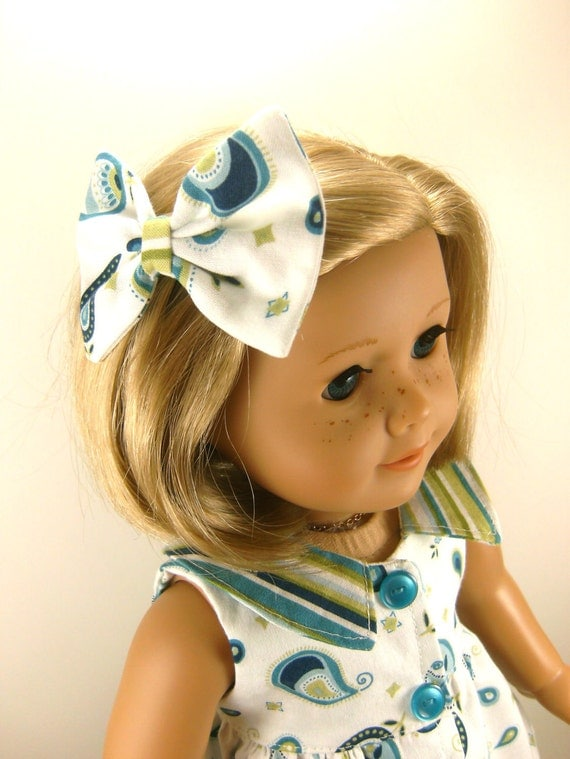 American Girl Doll Clothes Sleeveless Casual Dress Leggings and Matching Hair Bow One Of A Kind