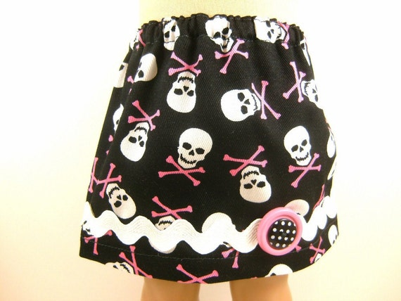 Fits American Girl Doll and Bitty Baby Twill Skully Skirt  With Trim Doll Clothes Girls Toy