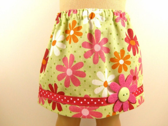 Fits American Girl Doll and Bitty Baby Twill Daisy Print Skirt  With Trim Doll Clothes Girls Toy