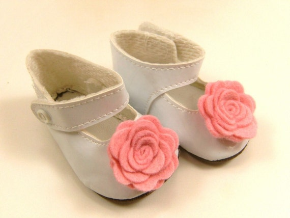 """Fits American Girl Doll Other 18"""" Dolls Shoes Embellished Mary Jane Shoes White with Bright Pink Wool Felt Flowers"""