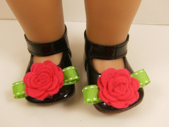 "Fits American Girl Doll Other 18"" Dolls Shoes Embellished Mary Jane Shoes Black with Hot Pink Wool Felt Flowers and Bright Green"
