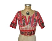 Ethnic cropped top / 1980s bandeau cropped top / XS-S