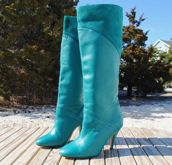 vintage 1980s teal knee high leather boots by seychelles size