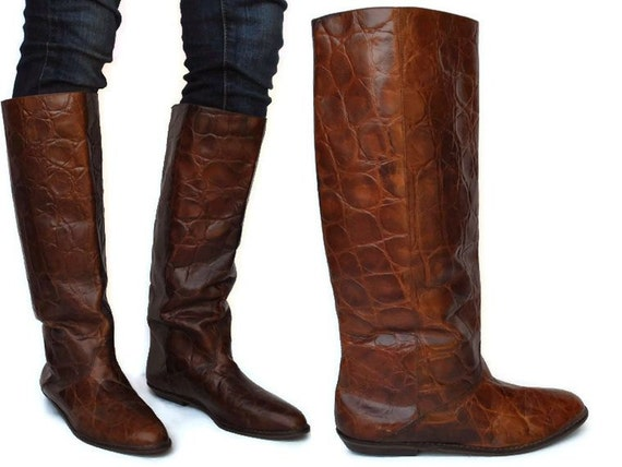 brown leather boots slouchy flat knee high by badbabyvintage