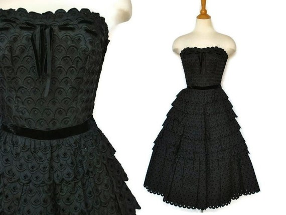 1940s 1950s black eyelet dress party prom cocktail gown xs s