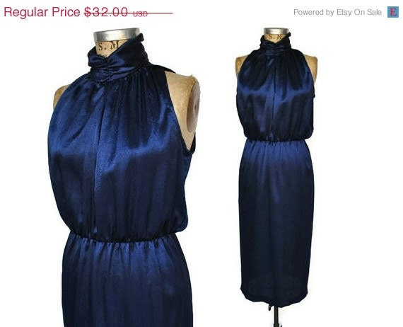 SALE Midnight Blue Party Dress / 1980s slouchy top / slinky / S-M