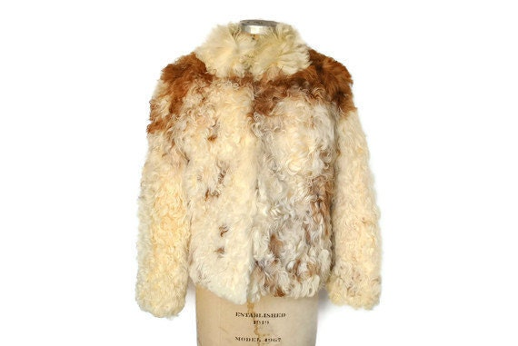 Mongolian Lamb Fur Jacket Coat / Tibetan 1970s / bohemian chic / Small