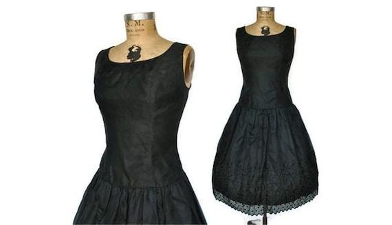 1950s Prom Dress / Black Organza / M-L