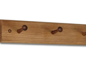 Shaker Coat / Hat / Cup Wall Peg Rack - Round Edge - Unfinished