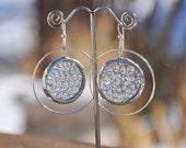 Glass water droplet hoop earrings