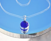 Ultra marine blue glass drop necklace