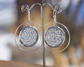 Glass  and Sterling Water Droplet Hoop Earrings