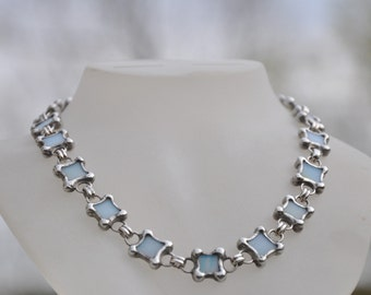 Sea Blue Stained Glass and Silver Diamond linked Necklace
