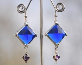 Faceted blue glass diamond earrings