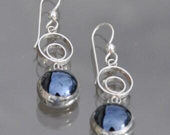 Black drop circle earrings
