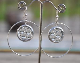 Holiday Sale! Cut Glass Water Droplet Sterling Hoop Earrings