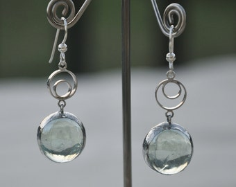Sea green translucent drop earrings