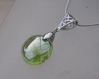 Iridescent acid green drop necklace