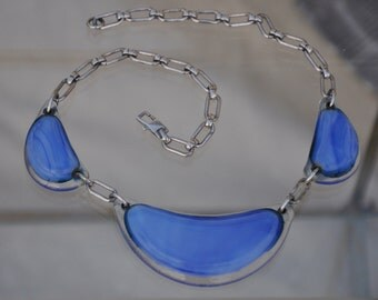 Iconic blue fused hand blown glass necklace