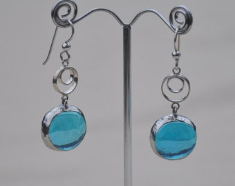 Translucent blue double circle drop earrings