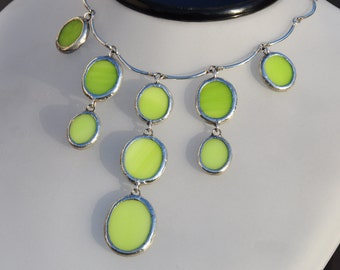 Glass chandelier necklace in Chartreuse green