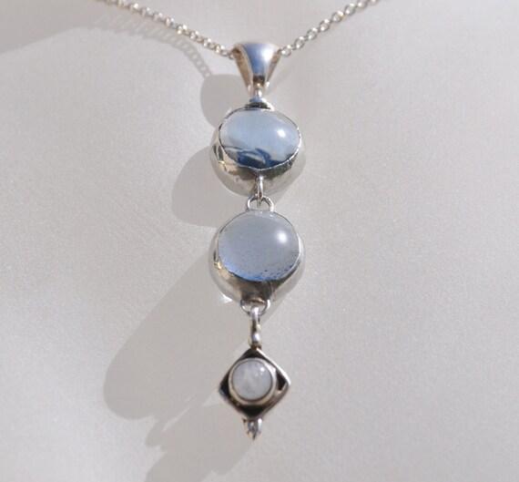 Translucent blue glass drop necklace