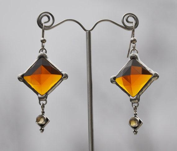 Faceted golden glass diamond gem earrings