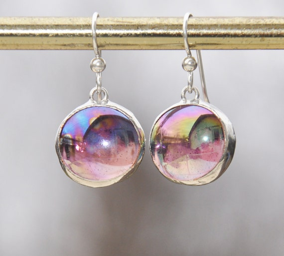 Iridescent purple glass drop earrings