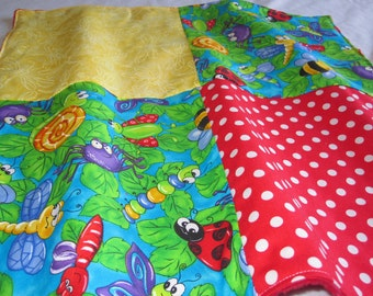 Soft Minky Baby Blankie/Lovey Blanket with Bugs fabric
