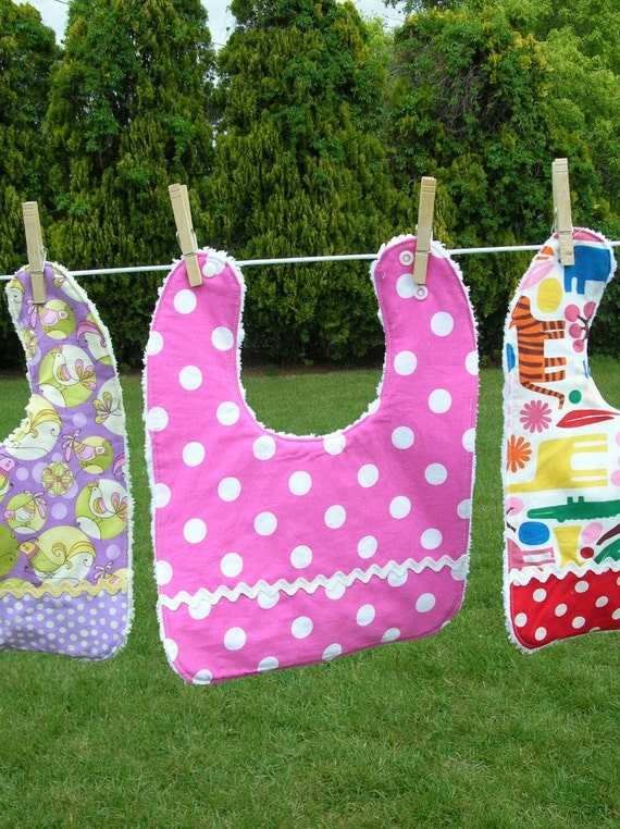 Cotton and Chenille Bib with 3 absorbent layers featuring Pink Polka Dot Fabric