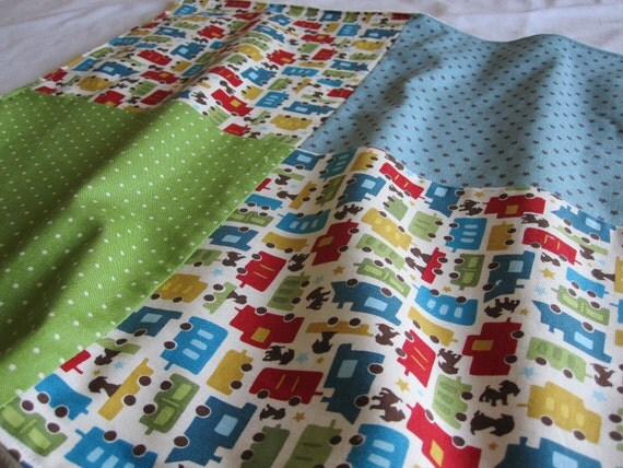 Soft Minky Baby Blankie/Lovey Blanket with Trains fabric
