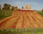 Door County Holiday OOAK Original Oil painting Barn farm fields