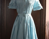 1950s Style Blue Cotton Dress- S M