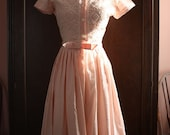 1950s Pink and White Embroidered Dress- XS