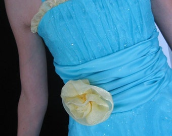 Jr Maid Flower Girl Special Occasion Dress Aqua Yellow Organza Overlay Satin Knee Length