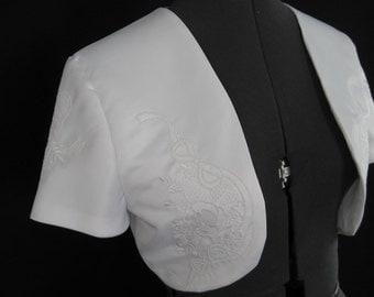 Bridal Bolero Embroidered White Satin
