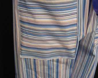 Lounge Pants Blue Tan Stripe Cotton Spandex Blend Size M
