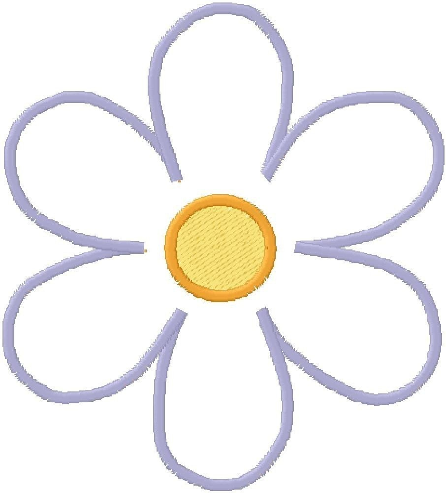 Embroidery design applique simple flower