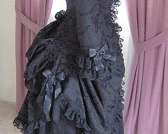 FOR ORDERS ONLY - Custom Made for You - 1800s Victorian Dress - 1880s Polonaise Gothic Bustle Gown - Bridal Tea Costume