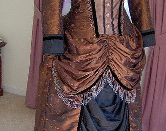 FOR ORDERS ONLY - Custom Made to Fit You - 1800s Victorian Dress 1880s Bustle Gown Skirt  Bodice -Sass -Old West - Gothic
