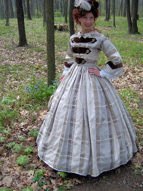 Victorian Costumes: Dresses, Saloon Girls, Southern Belle, Witch  1860s Civil War Day Dress - 1862 Bodice Skirt - Military - Reenacting Costume $325.00 AT vintagedancer.com