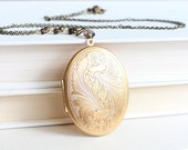 Large Gold Locket - Gorgeous, Oval Vintage Inspired with Long Chain, Great for Mom