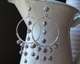 Bohemian Earrings with Silver Pearls - Boho Chic Chandelier Earrings