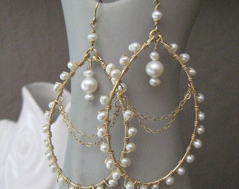 Wedding Pearl Earrings - Pearl Chandelier Earrings