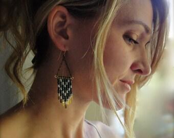 Southwestern Earrings with Iridescent Green and Gold Fringe - Bohemian Chandelier Earrings