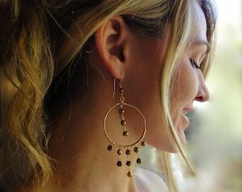 Exotic Chandelier Earrings with Gold Pearls - Bohemian Earrings